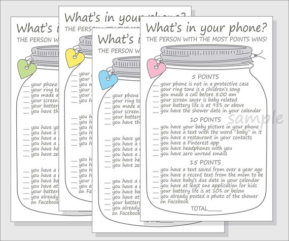 what 39 s in your phone baby shower game printable diy cell phone mason