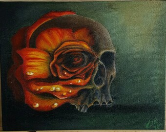 Death Blooms'  original acrylic painting