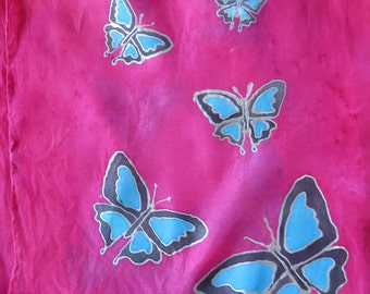 Hand Painted silk scarf - butterflies