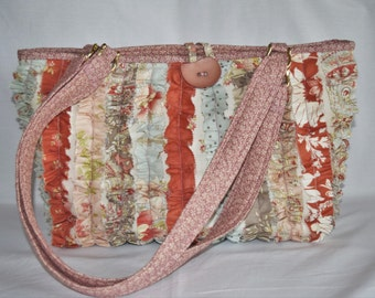 The Snazzy Bag, Cottage Chic, French Country floral ruffled fabric purse, tote bag, handbag, diaper bag, shopping tote