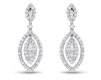 1.31 CT Natural Diamond Dangle Drop Oval Earrings in Solid 18k White Gold