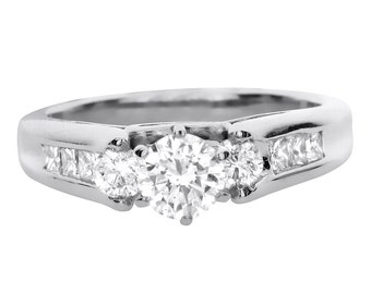 1.00 CT Natural Diamond Three Stone Ring in Solid 14k White Gold