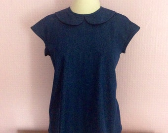 Denim blue peter pan collar button back blouse