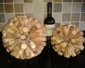 "Wine Cork Ball decoration using re-cycled Corks - Two sizes available 7"" (18cm) or 9"" (23cm) in height"