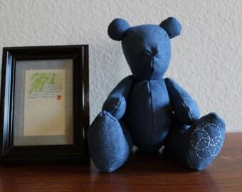 Denim and Sashiko design Teddy Bear ( decorative )