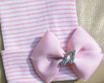Baby Girl Hospital Hat. Pink and White Hat with Pink Bow and Rhinestone Music Note Newborn Hospital Hat. Newborn Beanie. Great Gift!