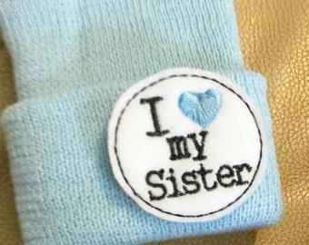 Newborn Beanie Hat. I Love my Sister! Thicker Knit Blue Hat. Super Cute. Newborn Hospital Hat.