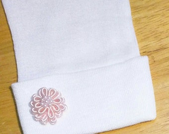 Newborn Hospital Beanie with Sweet Small Pink Flower! Newborn Beanie. Every Baby Girl Should Have! Great Gift that Mom will Love!