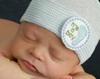Newborn Hospital Hat! It's a Boy! Newborn Hospital HATS! Newborn Beanies. Baby Beanie! Perfect Gift. Coming home outfit!