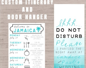 Destination Wedding Welcome Bag Guest Itinerary / Timeline of Events AND Door Hanger!