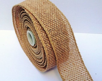 "1.5"" Wired Burlap Jute Natural Ribbon Roll 5 Yards"