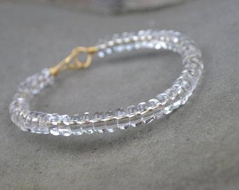 Natural Clear Quartz Bracelet Rock Crystal Quartz Bead Bracelet Healing Crystal