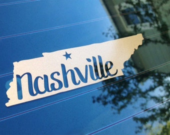 Nashville Tennessee State Sticker For Car Window, Bumper, Or Laptop