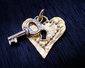 Large Gold Bronze Dotted Artisan Heart Lock and Key Pendant (one)