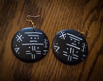 Black Mudcloth Around Wood Earrings