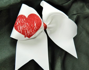 Bless Your Heart Cheer Bow Hair Bow