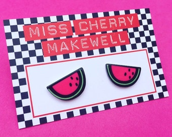 Watermelon Fruity Tropical Kawaii Kitsch Harajuku Kei Acrylic Stud Earrings by Miss Cherry Makewell