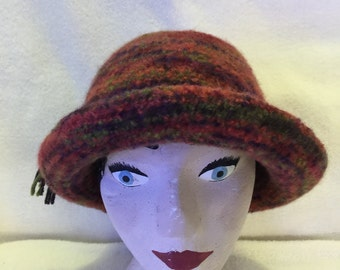 Womens variegated red wool felted hat with cord