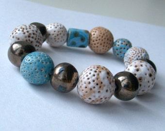 """ceramic jewelry, designer jewelry, majolica, ceramic bracelet, ceramic beads, bracelet on elastic """"In the early spring"""""""