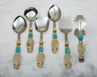 6 Piece Hostess Serving Set,Turquoise,Blue,Beaded,Kitchen,Utensils,Serving,Dining,Holiday,Christmas,Wedding,Hostess,Gift,Diwali,Indian,Boxed