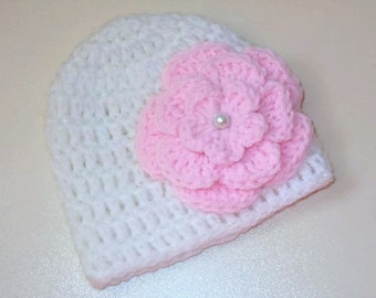 Baby girl hat, crochet newborn hat, newborn girl hat, girl hospital hat, take home outfit, baby girl beanie, white baby hat