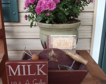 Milk Sign, Primitive Sign, Small Sign, Shelf Sitter, Farm Sign, Dairy Sign, Country Sign, 10c a gallon, wood sign, rustic sign, kitchen sign