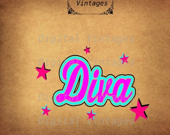Color Diva Logo Party  illustration Vintage Digital Image Graphic Download Printable Clip Art Prints HQ 300dpi svg jpg png