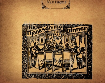 Antique Thanksgiving Dinner  Clip Art illustration Vintage Digital Image Graphic Download Printable Clip Art Prints HQ 300dpi svg jpg png