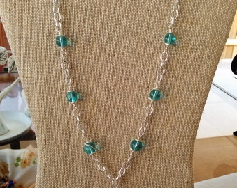 SALE Aqua glass and silver coils necklace