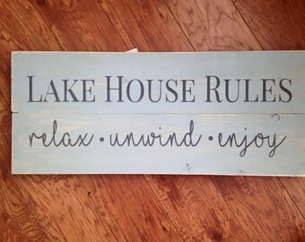 Lake House Rules Painted Rustic Wood Sign