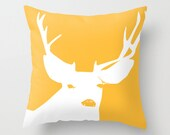 Yellow Deer Pillow Cover, Yellow Throw Pillow, Rustic Pillow, Yellow Animal Pillow, Yellow Cushion Cover, Cotton Pillow Ready to ship