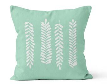 Fern Leaves Pillow Cover, rustic home decor, pastel seafoam mint green decorative pillow, nursery decor, organic pillow, cotton pillow