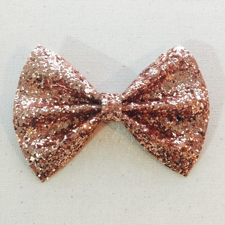 Rose Gold Glitter Bow Tie Rose Gold Glitter Hair Bow Glitter