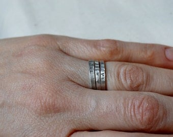 Custom Personalized Hand Stamped Sterling Silver Stacking Ring