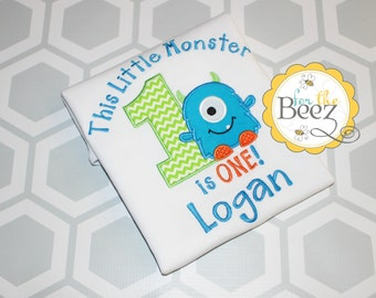 Boys Monster Birthday Shirt, Birthday Monster Outfit, Monster 1st Birthday Shirt, Monster 1st Birthday Outfit, Personalized Shirt