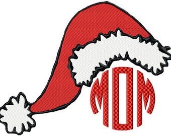 Machine embroidery Design - Santa Hat Monogram Frame comes in 3 sizes