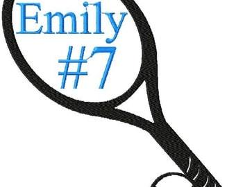 Machine Embroidery Design - Tennis Raquet comes in 4 sizes 7x7, 5x5,4x4,3x3