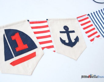 Nautical first birthday banner, nautical theme party, nautical baby shower, decoration, nautical nursery, photo prop, nautical decor