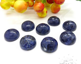 1pcs 14mm Natural Sodalite Cabochon, Round Shape Cabochon, Treatment: Untreated, Natural Gemstone, Deep Blue Color, Smooth Polished