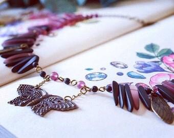 Dark Fae Sea Glass and Brass necklace