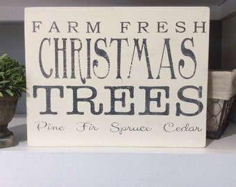 REDUCED PRICE, Farm Fresh Christmas Trees, Black and White