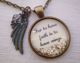 Faith necklace, for to have faith is to have wings sparkle pendant charm necklace
