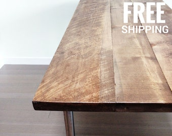 Dining Table, Kitchen Table | Reclaimed Wood Table | Recycled legs | Free shipping