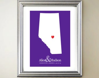 Alberta Custom Vertical Heart Map Art - Personalized names, wedding gift, engagement, anniversary date