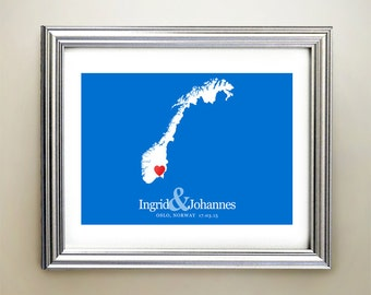 Norway Custom Horizontal Heart Map Art - Personalized names, wedding gift, engagement, anniversary date