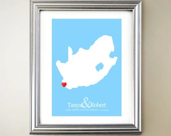South Africa Custom Vertical Heart Map Art - Personalized names, wedding gift, engagement, anniversary date