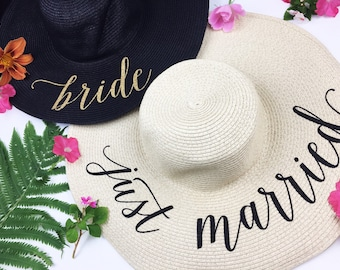 Floppy Sun Hat - Sequin Sun Hat - Bride Hat - Beach hat - Custom floppy hat - Bride to be hat - Beach Bride - Just Married Hat - Honeymoon