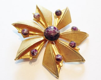 1960's Gold Plated Flower Brooch with purple glass cabochons