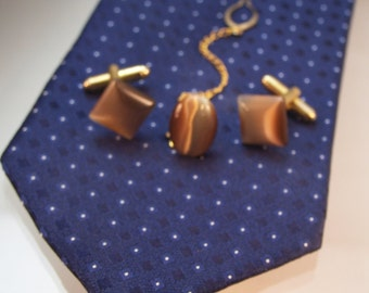 Cat's Eye Cufflinks & Tie Pin, Tiger's Eye Brown, Men's Fathers Day Gifts, Available in Singles or Set