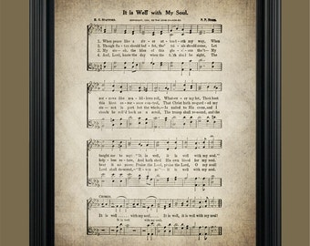 It Is Well With My Soul Hymn - Sheet Music Art - Hymn Art - Hymnal Sheet- Home Decor - Bedroom Art - Gift - Instant Download -  #HYMN-002